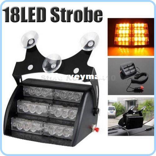 3x6 18 LED Emergency Vehicle Strobe Warn Lights Light Lamp 3 Flashing Modes 3 led 3*6 18led For Windshields Dashboard - Amber
