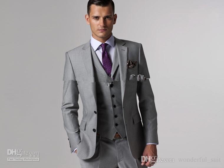 Groom Smoking Groomsmen Maßgeschneiderte Light Grey Side Vent Slim Fit besten Mann Anzug Hochzeit / Herren Anzüge Bräutigam (Jacket + Pants + Tie + Vest
