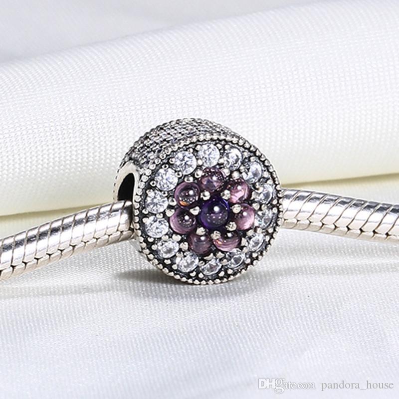 VRAI 925 Sterling Silver non plaqué Élevage Floral Charme Floral CZ Européen Charms Perles Fit Pandora Snake Chain Chaîne Bracelet DIY Bijoux