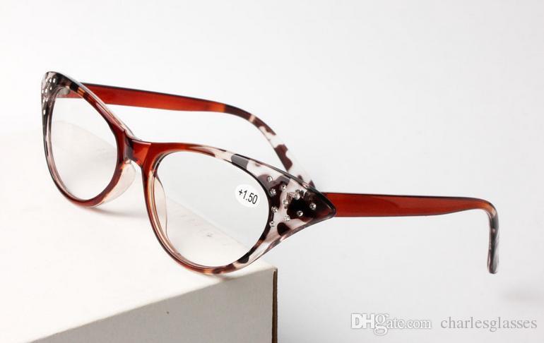 Einzelhandel 1 stücke kunststoff lesebrille für frauen cat-eye form presbyopie gläser linsen power +1,0 bis +3,50 leopard farbe