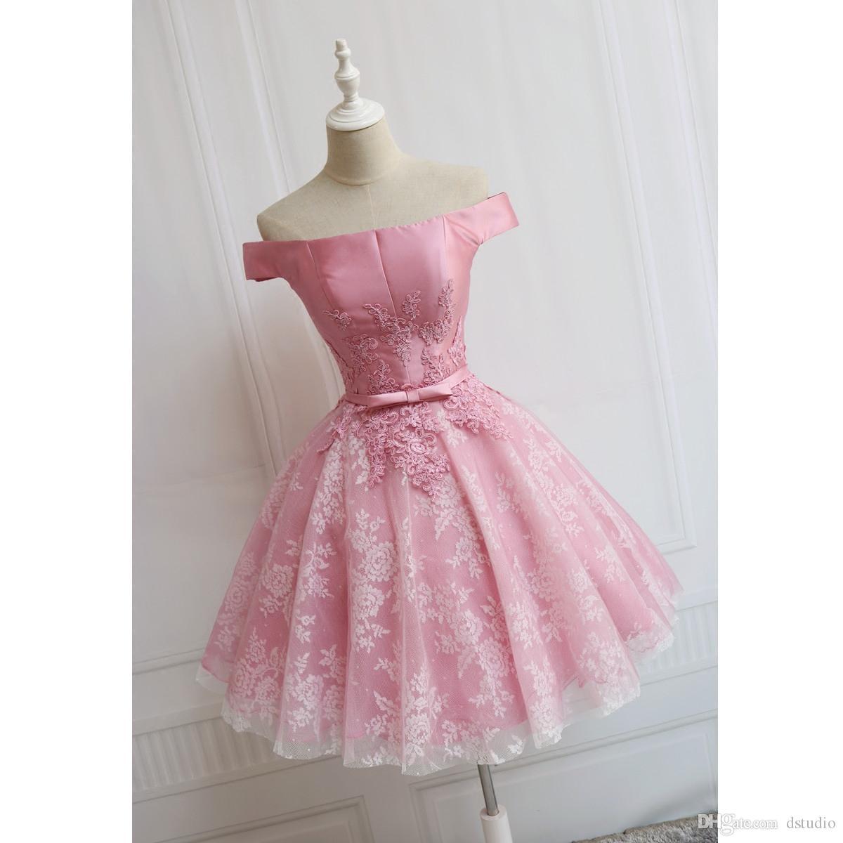 Пышные розовые платья выпускного вечера без бретелек с атласной длиной до колен с кружевным тюльпаном для вечеринки для вечеринок с кружевами / застежка -молния с коктейлем