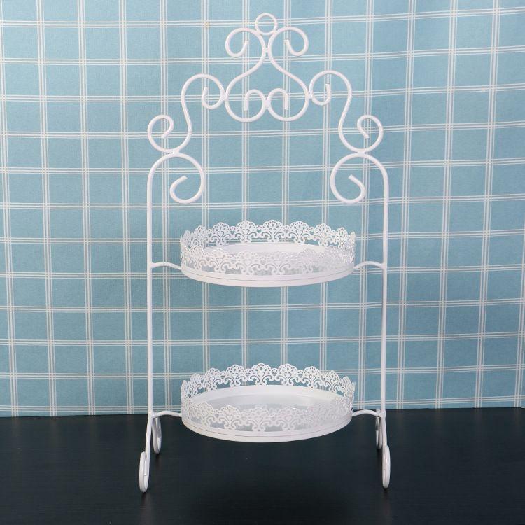 2層ラウンドホワイトレースカップケーキアイアンケーキスタンド誕生日パーティーホテルの装飾結婚式の塔D服