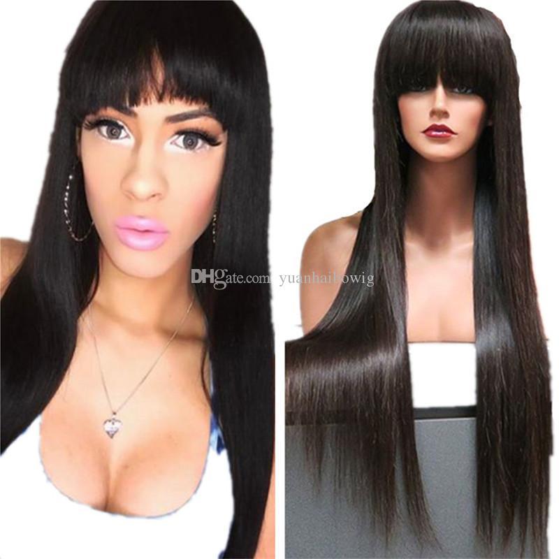Peluca llena del pelo humano de Bangs 1B Peluca recta sedosa del cordón del cordón de la Virgen de Brasil Envío sin cola