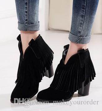 wholesale free shipping factory price hot seller new style sexy Ankle Boots Tassel Boots round nose chunkyheel gril boot056