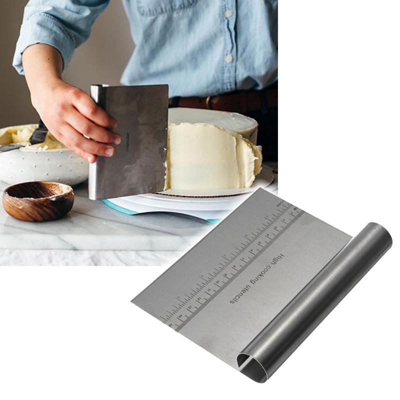 الجملة-الفولاذ المقاوم للصدأ البيتزا العجين مكشطة القاطع مطبخ دقيق المعجنات كعكة أداة مقياس مع قياسات الخبز أداة سهلة التنظيف