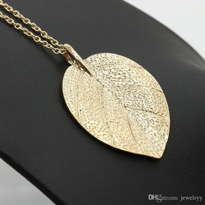 Женщина длинная цепь ожерелье позолоченный лист кулон ожерелье леди свитер платье аксессуары листья цепи ожерелье ювелирные изделия