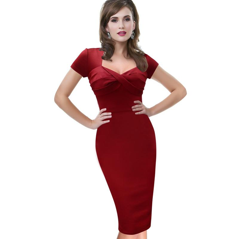 Lcw New Design Womens Elegant Sexy Ruched Twist Pinup Modest Wear To Work Business Casual Party Bodycon Fitted Pencil Sheath Dress
