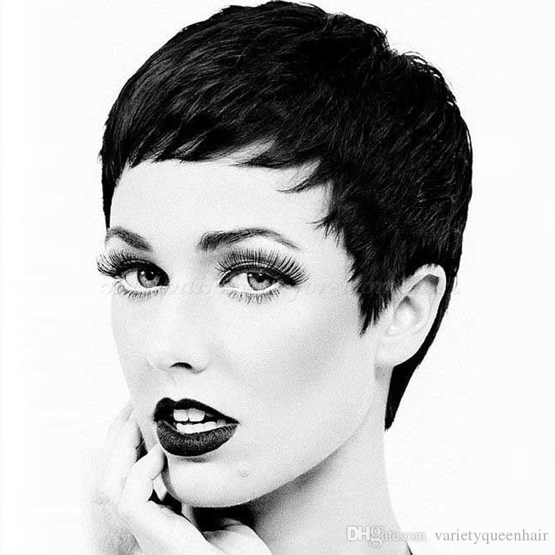 6A Layered Vierge Cheveux Humains Court Bob Perruque Pour Les Femmes Noires Sans Colle Avant de Cheveux Humains Bob Perruques Avec Frange Latérale