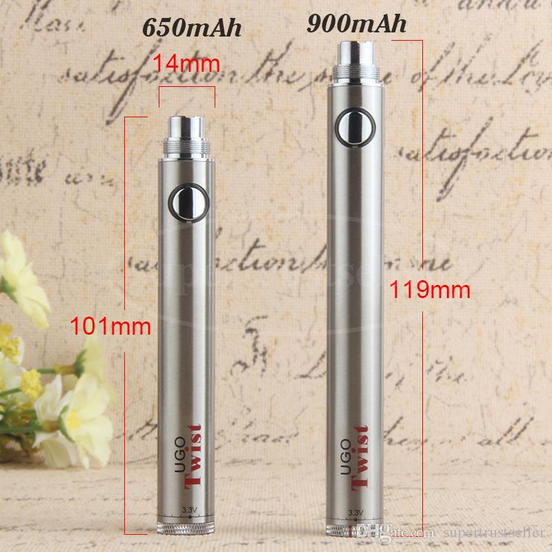 Evod Twist Vape Pen Batteria a tensione variabile 650mah 900mah UGO eGo C Twist Micro USB Passthrough per 510 Filetto vaporizzatore Atomizzatore all'ingrosso