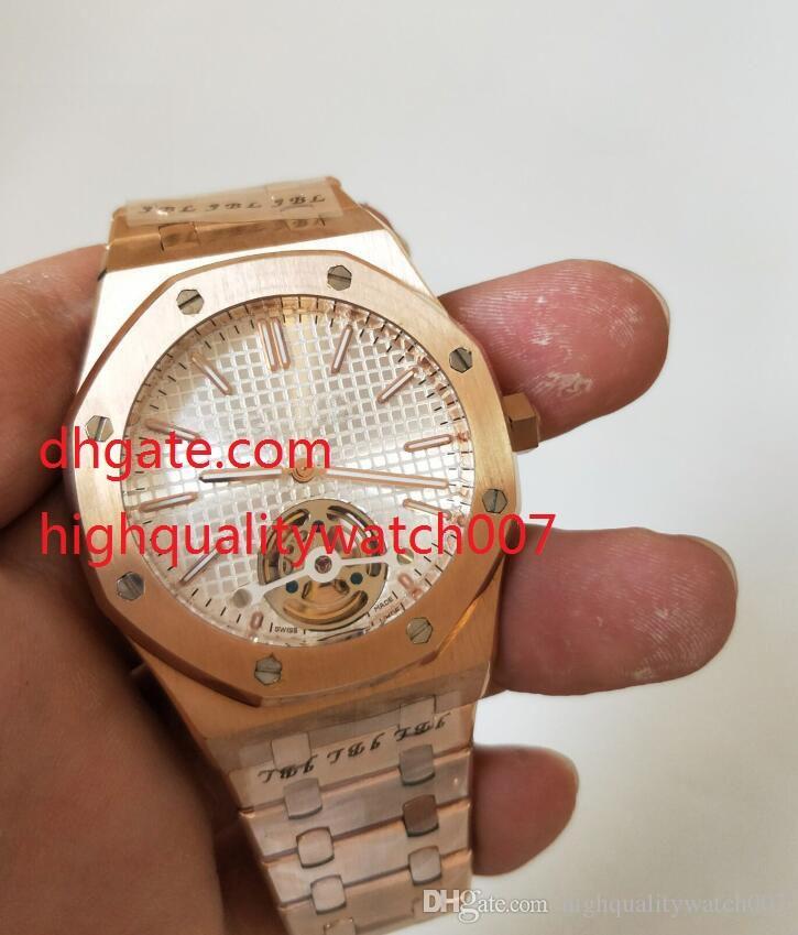 Top Quality Tourbillon alta 41 millimetri bianco Dial18k oro rosa in acciaio inox 26540OR 26450 Automatic Mens Watch Watches