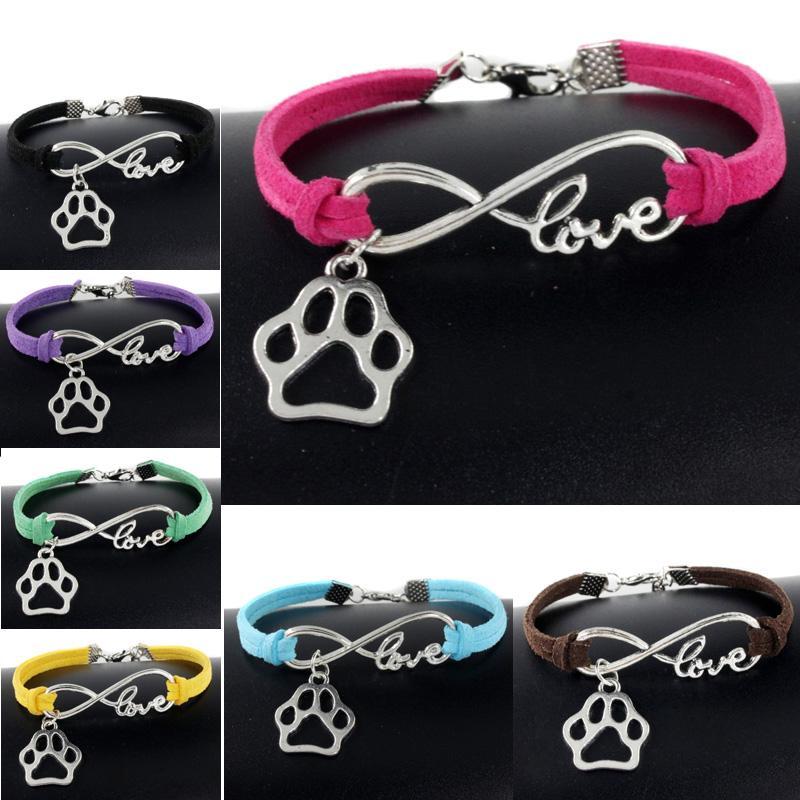 Sevimli Evcil Köpekler Kedi Hayvan Bear Paw Charms kolye Aşk Infinity Bilezik Gümüş Kaplama Deri Zincir Basit Bileklik Kadınlar Vintage Takı