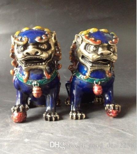 Una coppia di statue cinesi in rame cloisonne - Lion Foo Dog NR