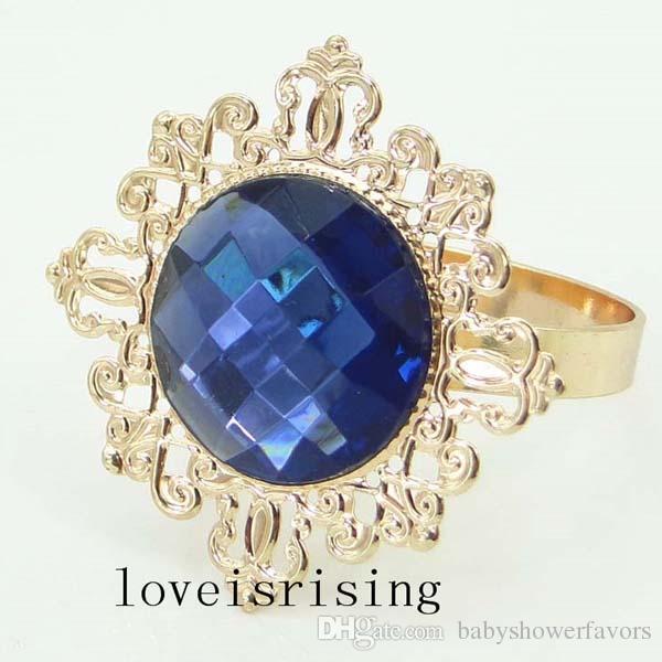 Hohe Qualität - 100pcs Marine-Blau-Gold überzogene Weinlese-Art-Servietten-Ringe, die Brautduschen-Serviettenhalter - freies Verschiffen Wedding sind