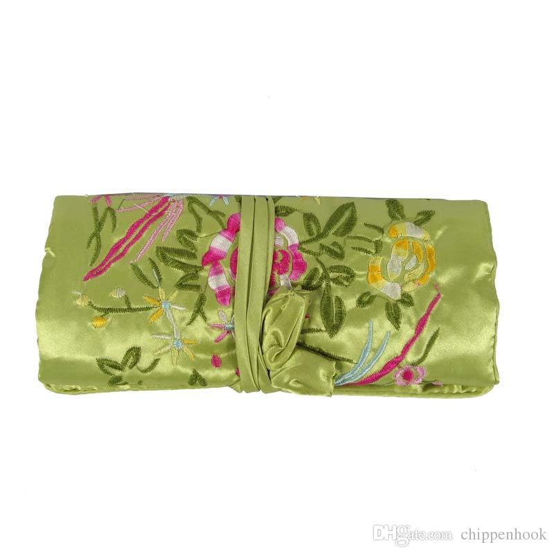 50Pcs Silk Embroidery Flower Bird Travel Roll Bag Chinese Wind Silk Pouch 3 Zipper Necklace Ring Bar Bracelet Storage Organizer Bag 10*20