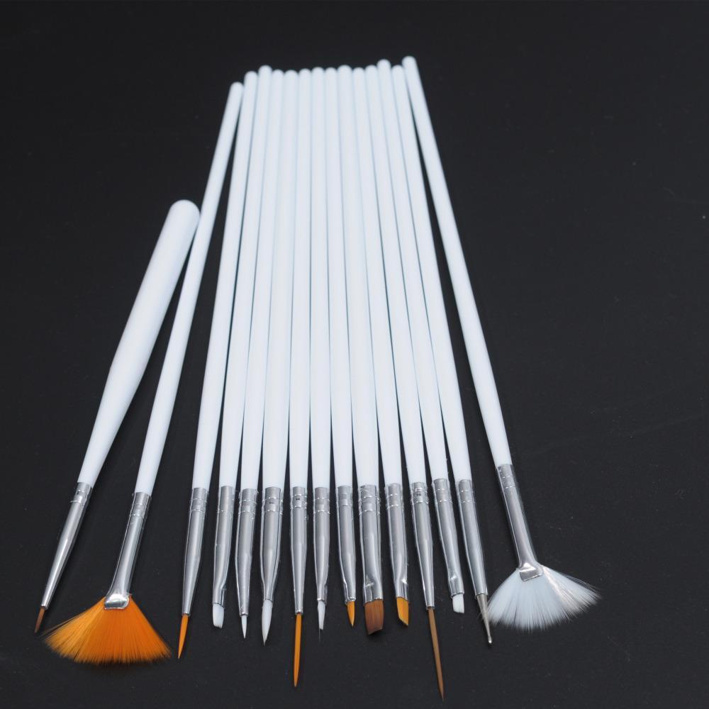 15Pcs Nail Art Polish Painting Draw Pen Brush Tips Tools Set UV Gel Cosmetic Nail tools pinceis nail brush Wholesale White