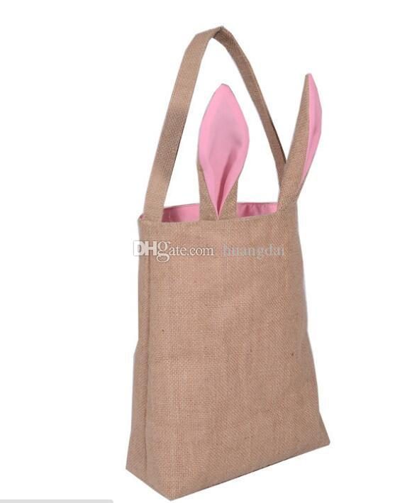 2017 Easter Bunny/ Rabbit Bag Bunny Ears Easter Spring Treat Egg Bags Dual Layer Jute Party Favor children's Gifts Bags12 colors