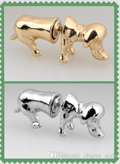 2017 hot vente Harajuku vent personnalité 3D Animal Stud Studs stéréoscopique mignon chien boucles d'oreilles Unisexe Golden silvery