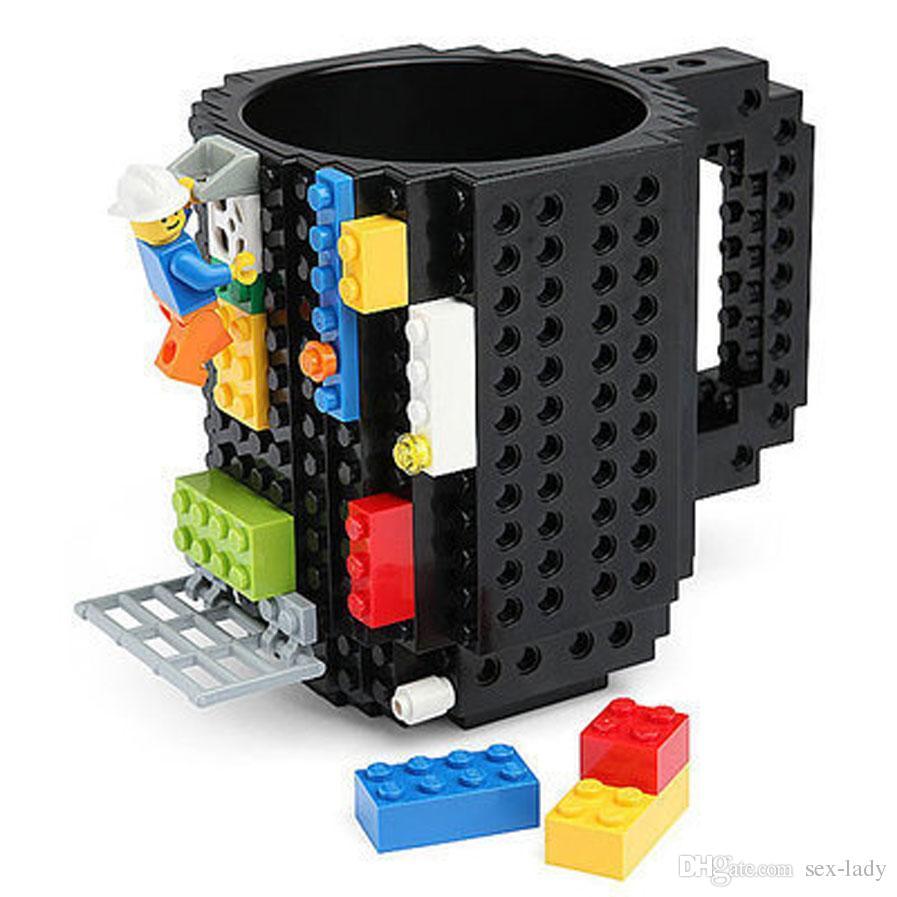 10 Colors Drinkware Building Blocks Mugs DIY Block Puzzle Mug 12oz 1Piece Build-On Brick creative Mug Type Coffee Cup Free Shipping
