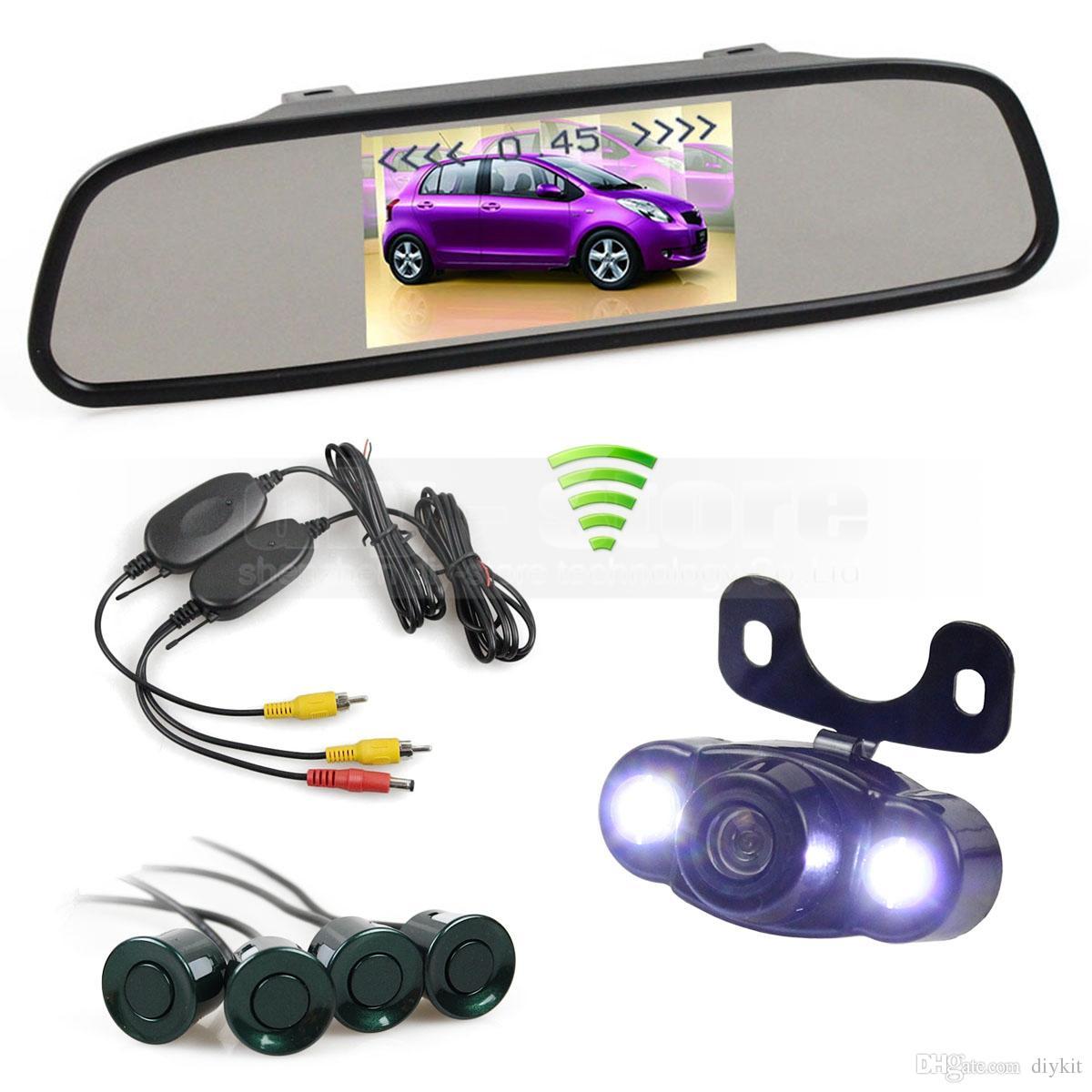 4.3 Inch Wireless Video Parking Radar 4 Sensors Rear View Monitor Mirror Car Monitor + LED Rear View Car Camera