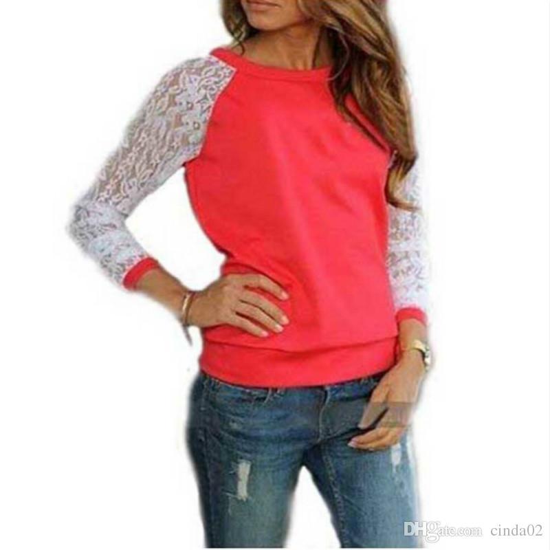 الدانتيل البلوزات قميص المرأة طويلة الأكمام بلوزة blusa الأنثوية قميص بلوزة قمم الصلبة س الرقبة عارضة القمصان 5 ألوان