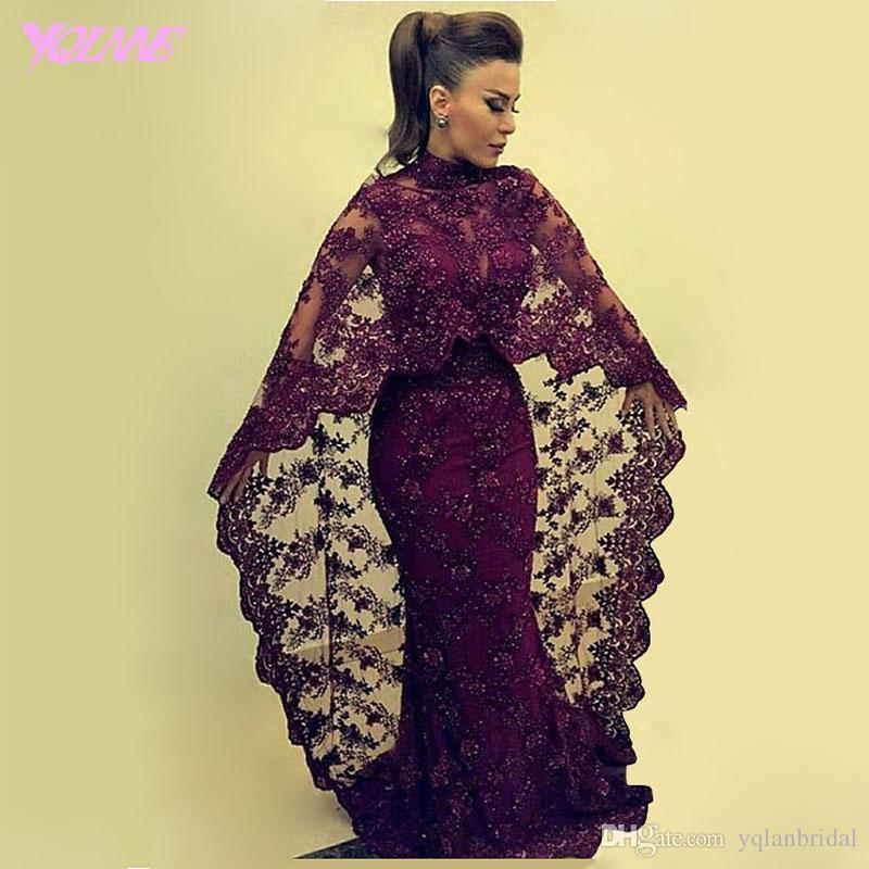 2017 Modern Grape Mermaid Evening Dresses Lace Shawl Formal Women ...