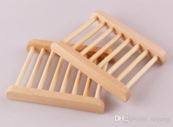 100PCS Natural Bamboo Wooden Soap Dish Wooden Soap Tray Holder Storage Soap Rack Plate Box Container for Bath Shower Bathroom