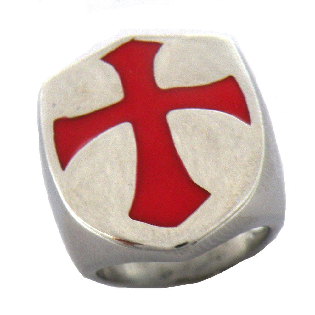 mens d'epoca in acciaio inox o FANSSTEEL wemens forma a scudo gioielli croce di Malta Cavaliere Templare anello massonico 13W01