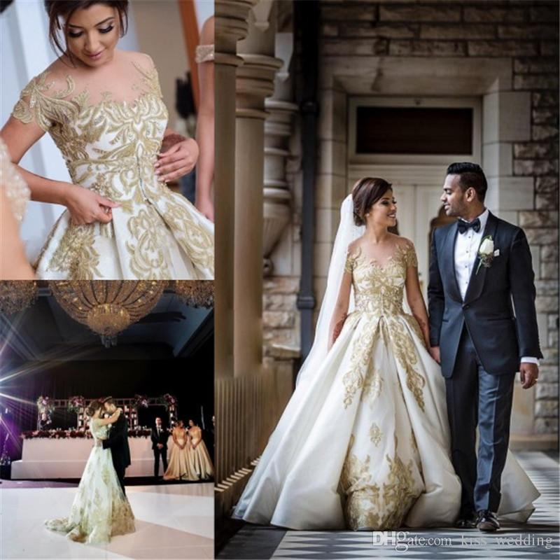 Glamorous Church Wedding Dress Illusion Sheer Crew South African Gown Detachable Train Appliqued Custom Made Overskirts 2018 From Kiss