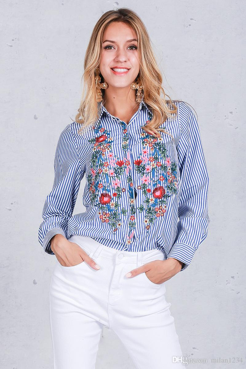 Weibliches Blusenhemd der Stickerei beiläufiges blaues gestreiftes Hemd Frühlingsherbst kühle lange Hülsenblusenfrauen übersteigt die Kleidung