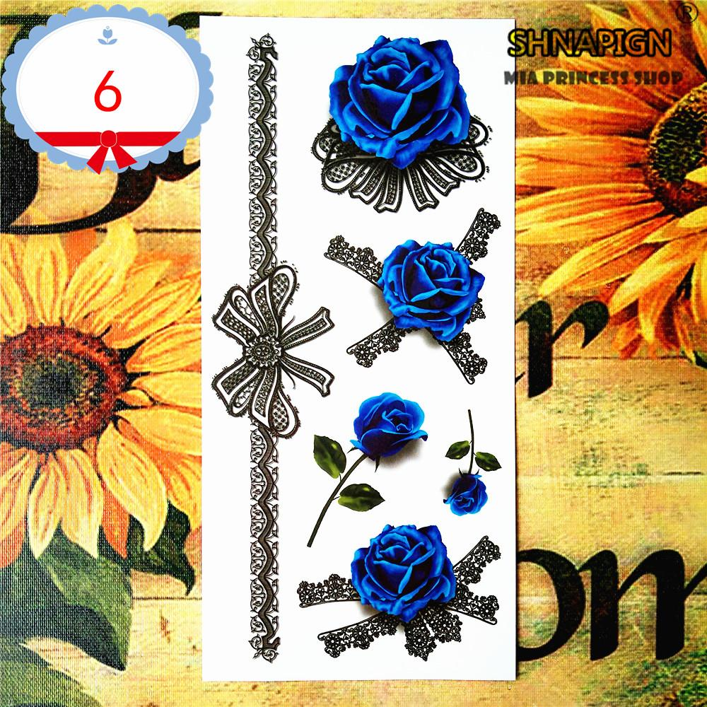 Wholesale- Blue Lover Rose 3d Temporary Tattoo Body Art Flash Tattoo Stickers 19*9cm Waterproof Car Styling Tatoo Home Decor Wall Sticker