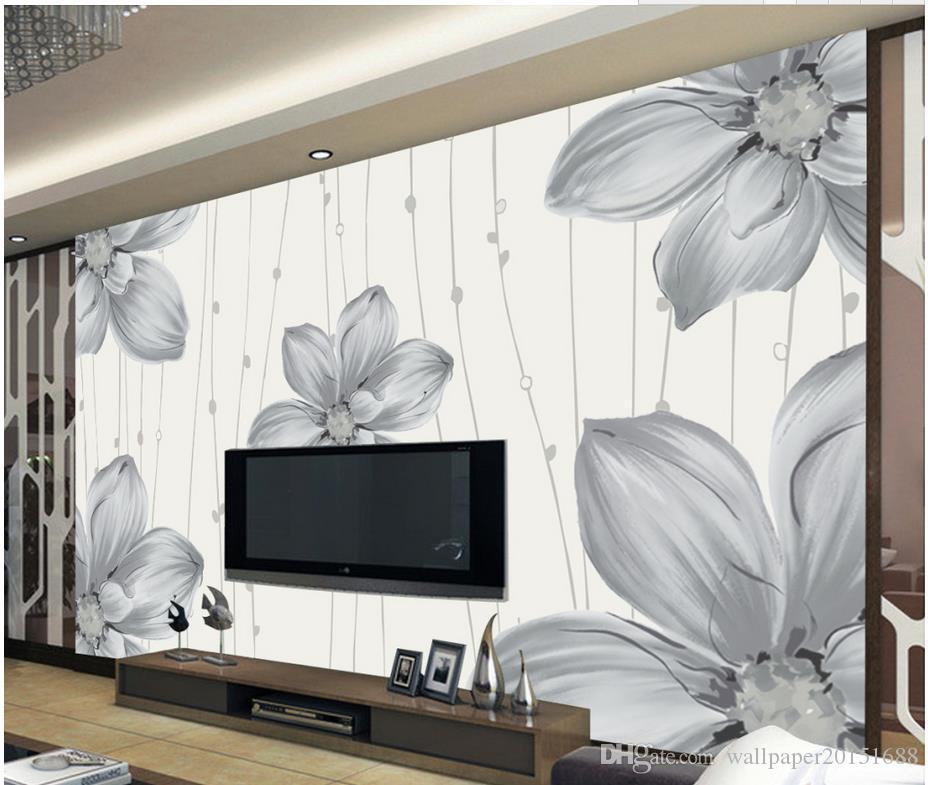 Moderne einfache Hand bemalt Blumenmuster Wand TV Tapeten 3D Wallpaper 3D-Tapeten für tv Hintergrund