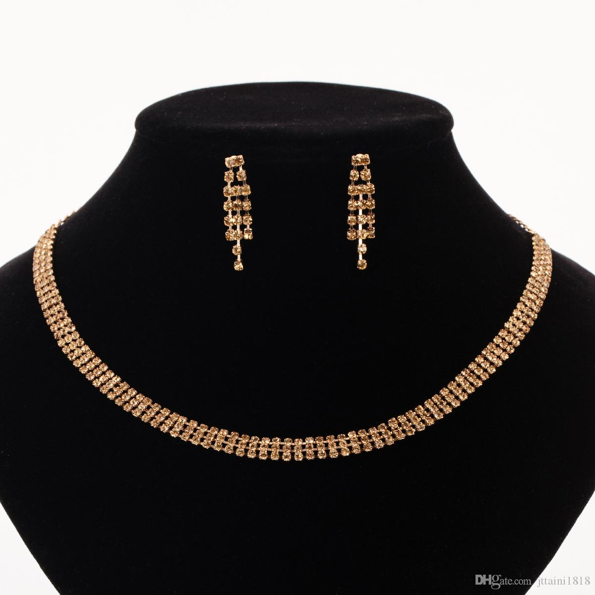 YFJEWE Luxury Wedding Jewelry Sets For Bride Elegant Crystal Chain Necklace Earrings Set for Women Gold-color Party Jewelry
