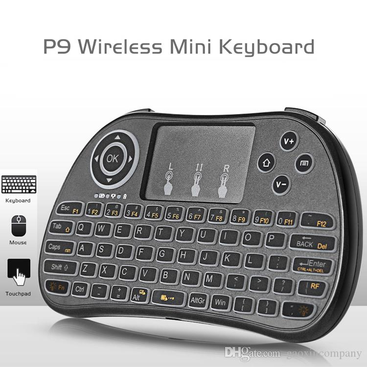 P9 미니 키보드 2.4G 핸드 헬드 터치 패드 충전식 리튬 배터리 무선 비행 공기 마우스 원격 제어 흰색 백라이트