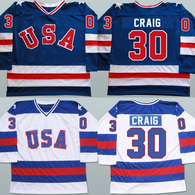 2021 Mens 30 Jim Craig Jersey 1980 Miracle On Ice Hockey Jerseys ...