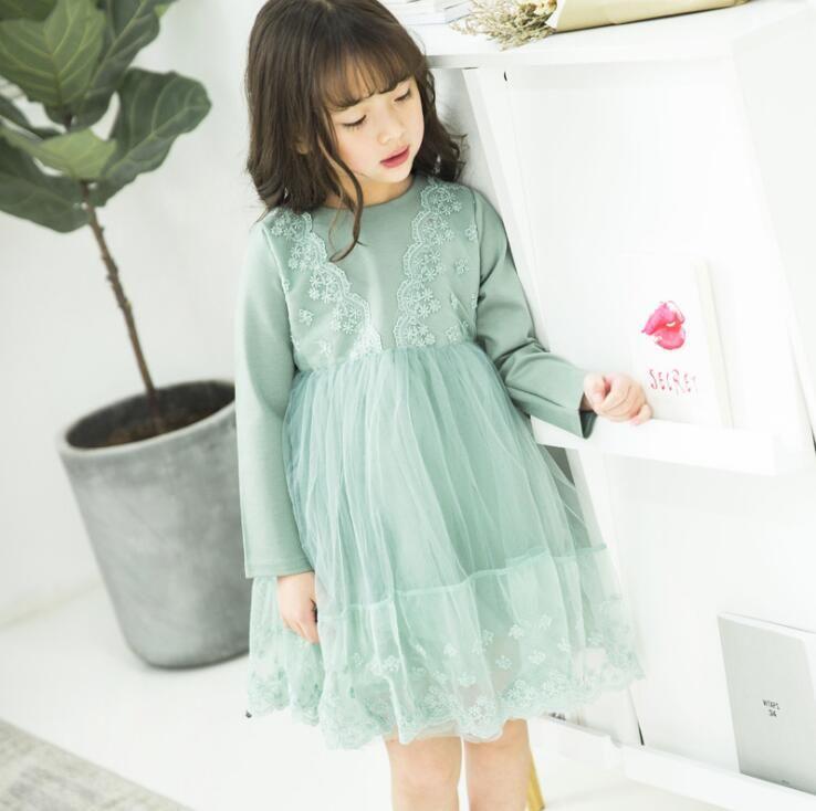 2017ベビーガール子供パーティー良い品質秋の女の子V襟のレースの偽の2ドレス子供長袖ソフトプリンセスドレス子供服