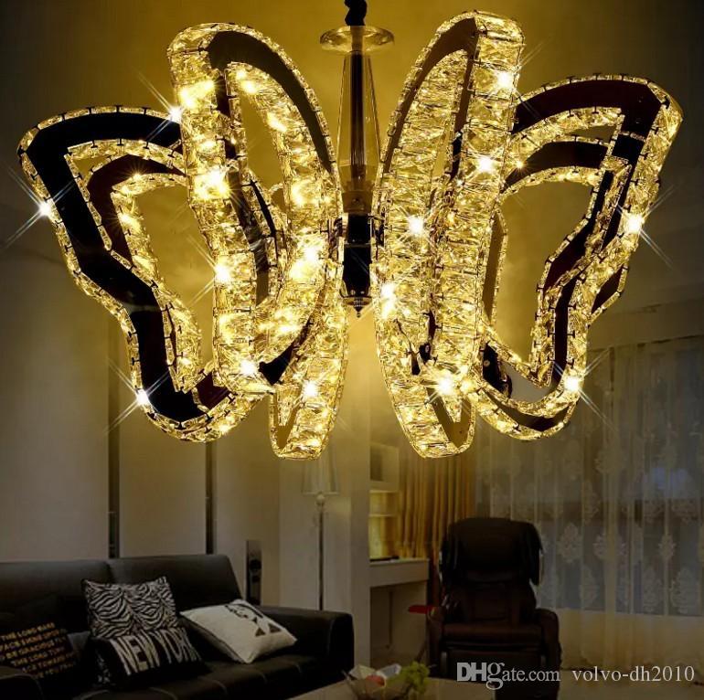 K9 mariposa LED luz de techo moderna lámpara colgante de cristal Para las luces de la sala dormitorio restaurante lámpara Arañas interiores G4 Bombillas LLFA