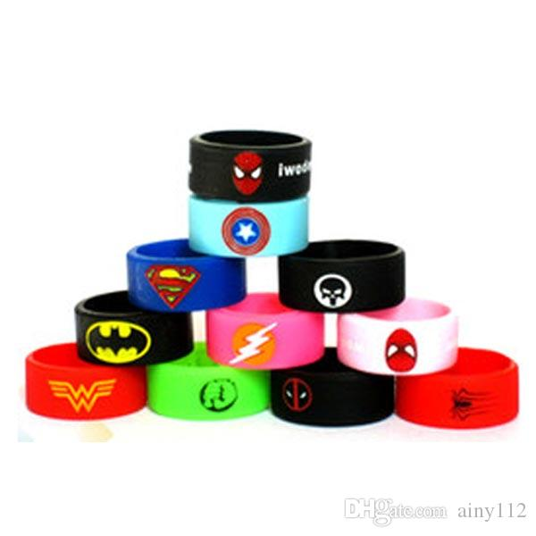 Vaporizer Vape Band Silicone Ring Colorful Decoration Protection Rubber Rings Deadpool Flash Hulk Batman Logo Fit E Cigarette Mods DHL Free