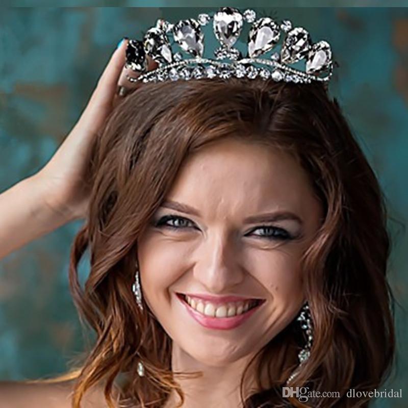 높은 품질의 빅 라인 석 크리스탈 Pageant 티아라 크라운 파티 액세서리 공주 여왕 머리 장식 헤어 액세서리 무료 배송