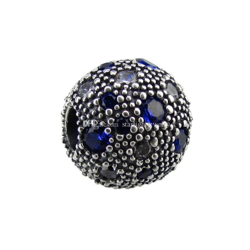 2017 nuove perline sciolte estive originali 100% 925 clip in argento sterling perline adatti per i gioielli del braccialetto Pandora con ciondoli blue zirconi fai da te