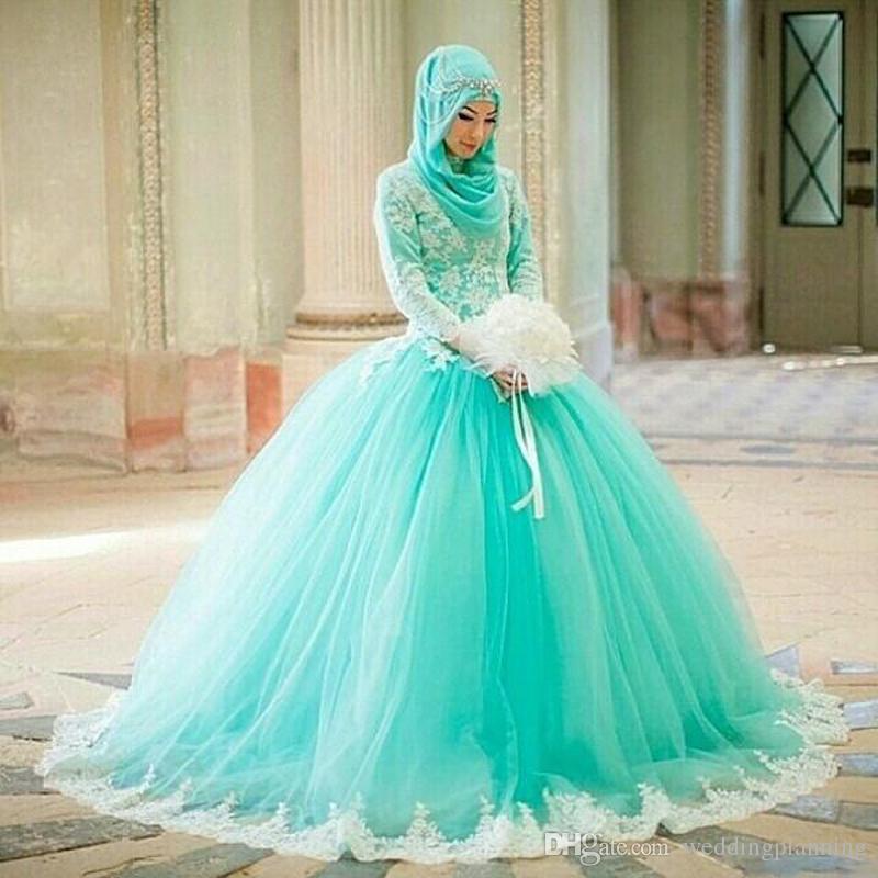 muslim arabic pakistani dubai ball gown wedding dresses high neck long sleeve turquoise tulle lace appliques long plus size bridal gowns