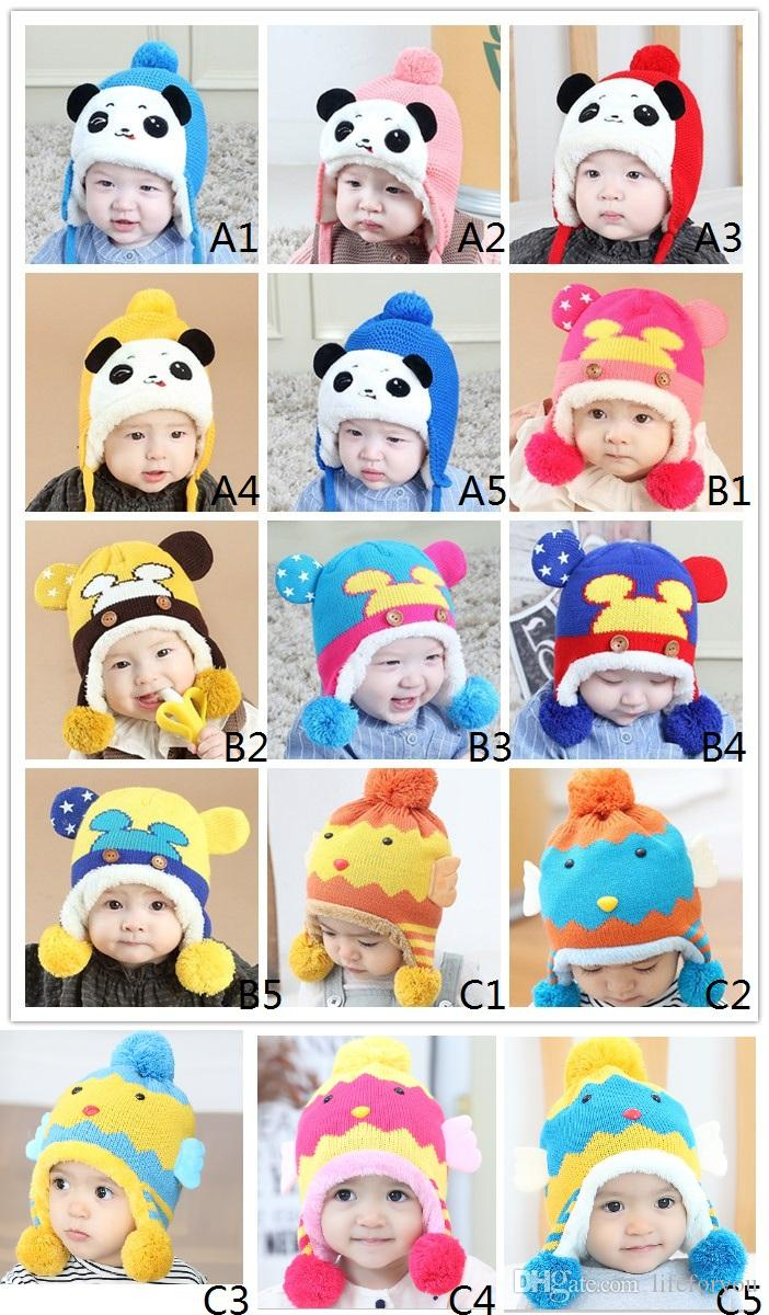 baby hats cute cat hat winter warm hat woolen cartoon bear animal knitted beanies toddler gifts 0-3 years old,15 colors to choose