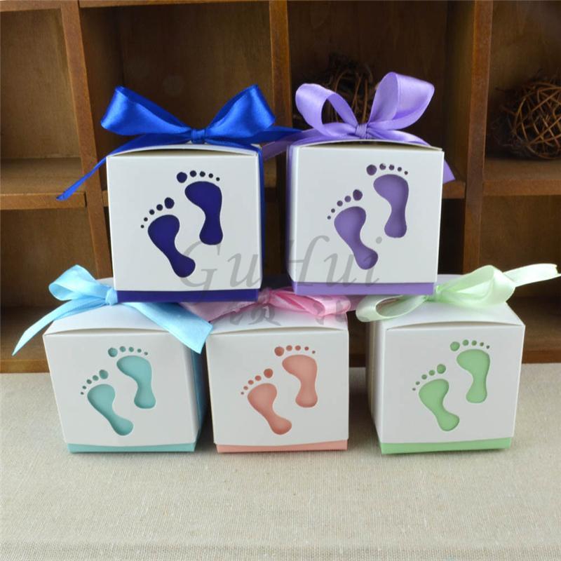 Venta al por mayor 50 Unids / set Lindo Baby Shower Caja de Dulces Niño y Niña Huella Bautizo Favores Regalo Fiesta de Cumpleaños Suministros de Decoración Decoración