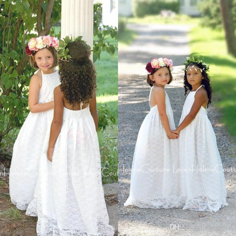 Beach Boho Flower Girls Dresses For Weddings 2017 Cheap Halter Full Lace Backless Floor Length First Communion Dresses Custom Made EN4064