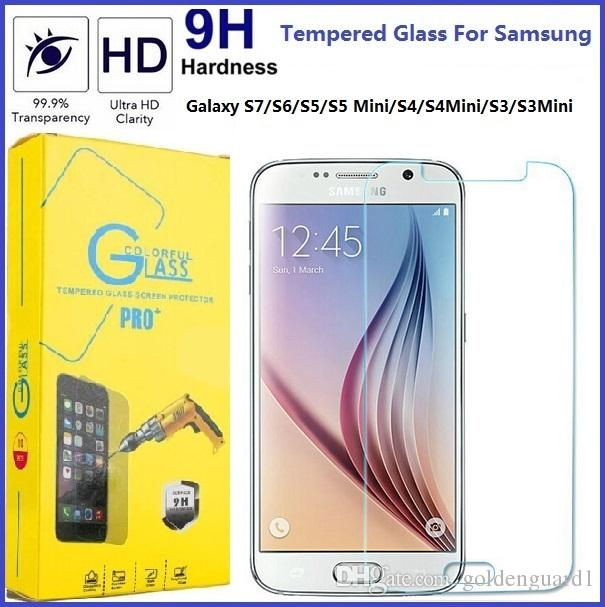 S7 9H Tempered Glass Screen Protector For Samsung Galaxy S7 S6 S5 Mini S4 Mini S3 Mini S2 2.5D 0.26MM 9H Anti Scratch Retail Package