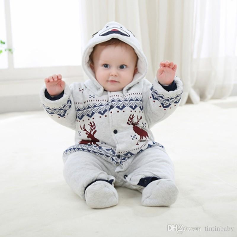 Christmas Newborn Baby Boys Girls Romper Infant Warm Outfits Kids Winter Clothes