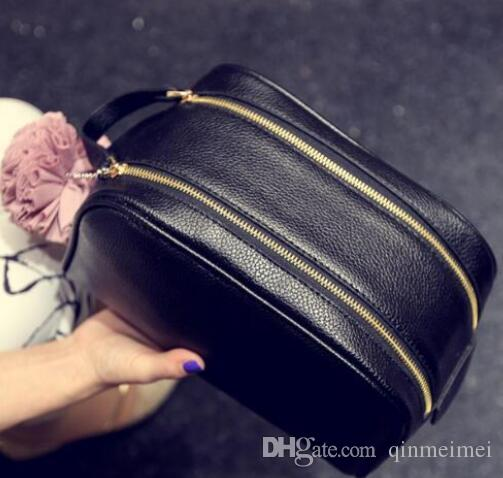 Путешествия косметический чехол женщины молния рука макияж сумка L Марка косметический чехол организатор хранения сумка для туалетных телячья кожа мыть сумки