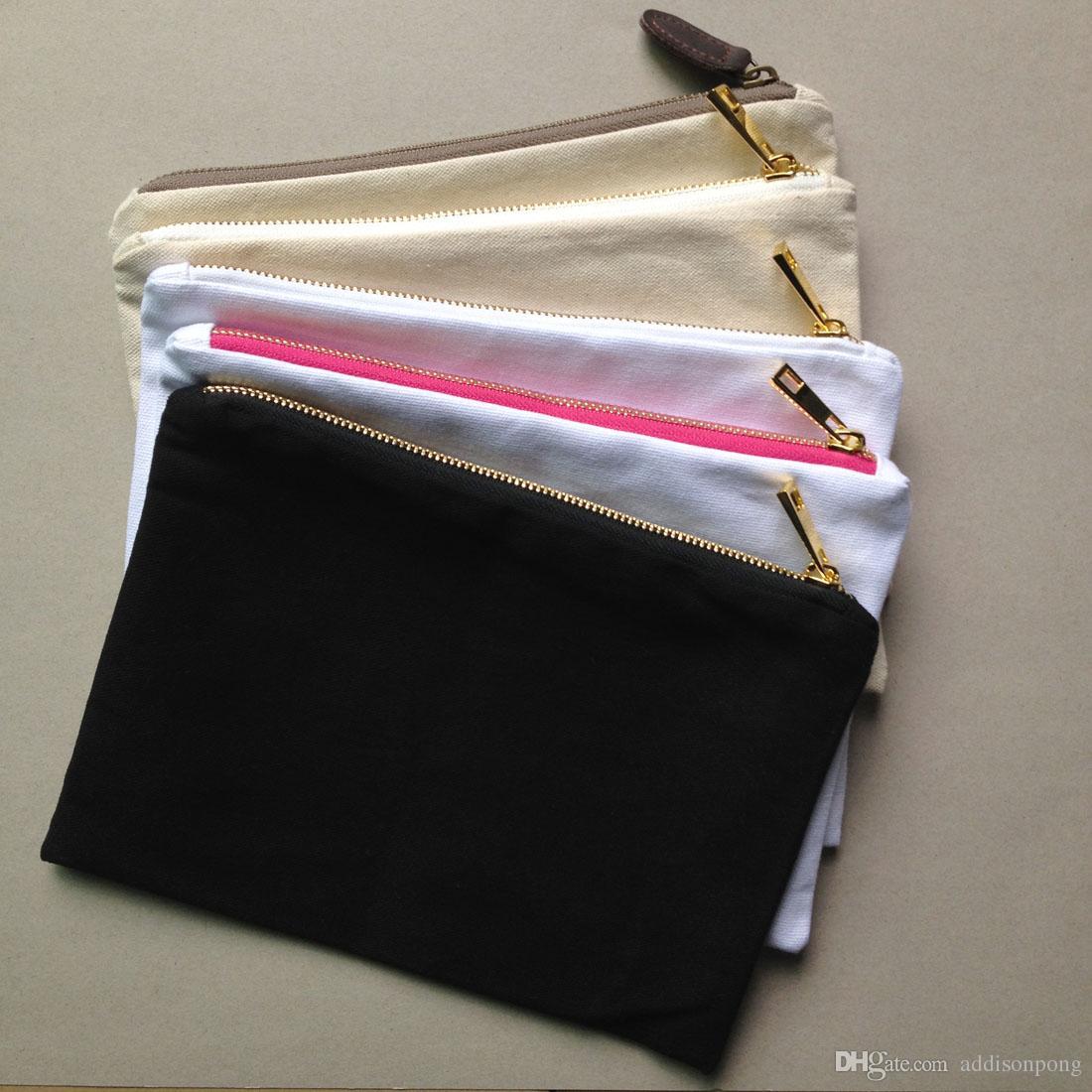 toile de coton uni blanc composent le sac avec doublure zip en or de qualité supérieure 7x10in solide sac de toilette de couleur pour la peinture de bricolage / impression noir / blanc / ivoire