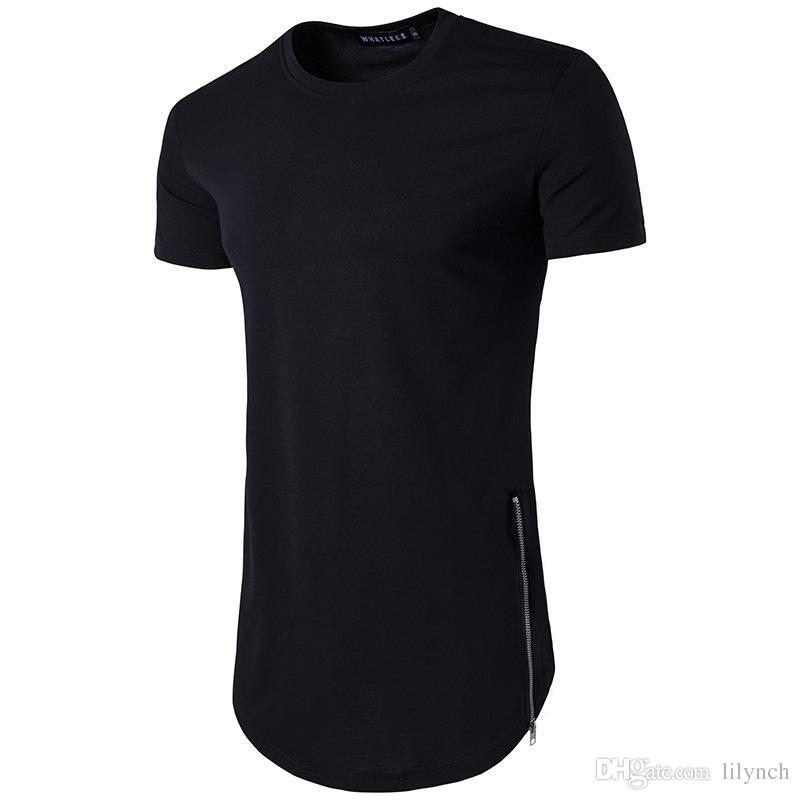 Long Sleeve T-Shirt Zipper Detail To Hem Men Hip Hop Longline Design Top Tees