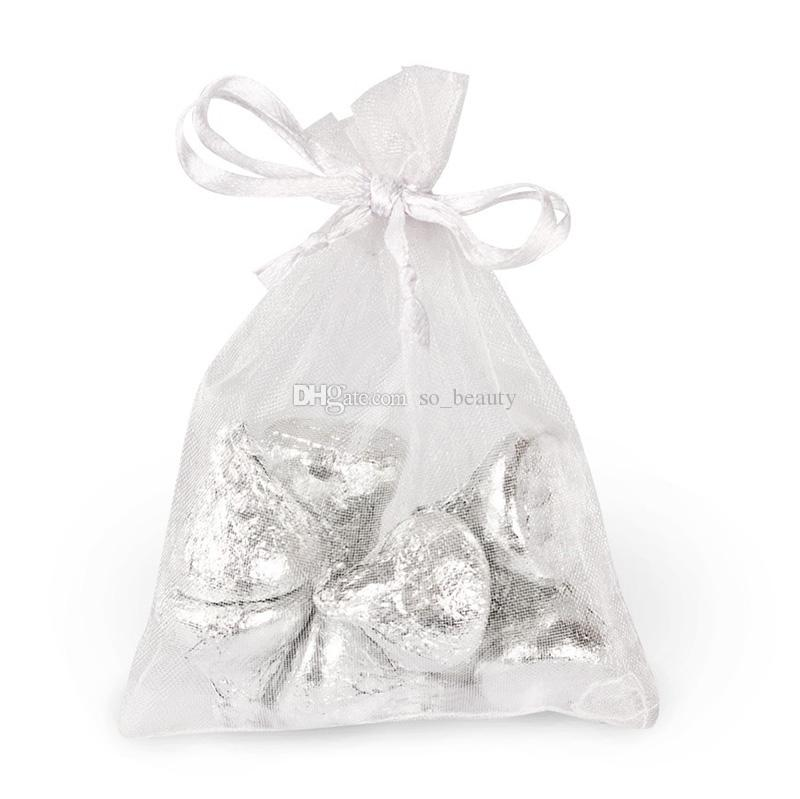 100 pcs Branco Organza Sacos de Embalagem de Jóias Bolsas de Casamento Favores de Natal Saco de Presente de Festa 10x15 cm (3.9x5.9 polegada)