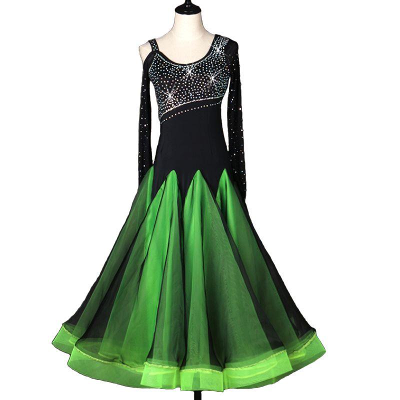 Gesellschaftstanz Wettbewerb Kleider Standard-Tanzkleider D0085 Schwarz Grün Langarm Strass Waltz Tango-Kleid